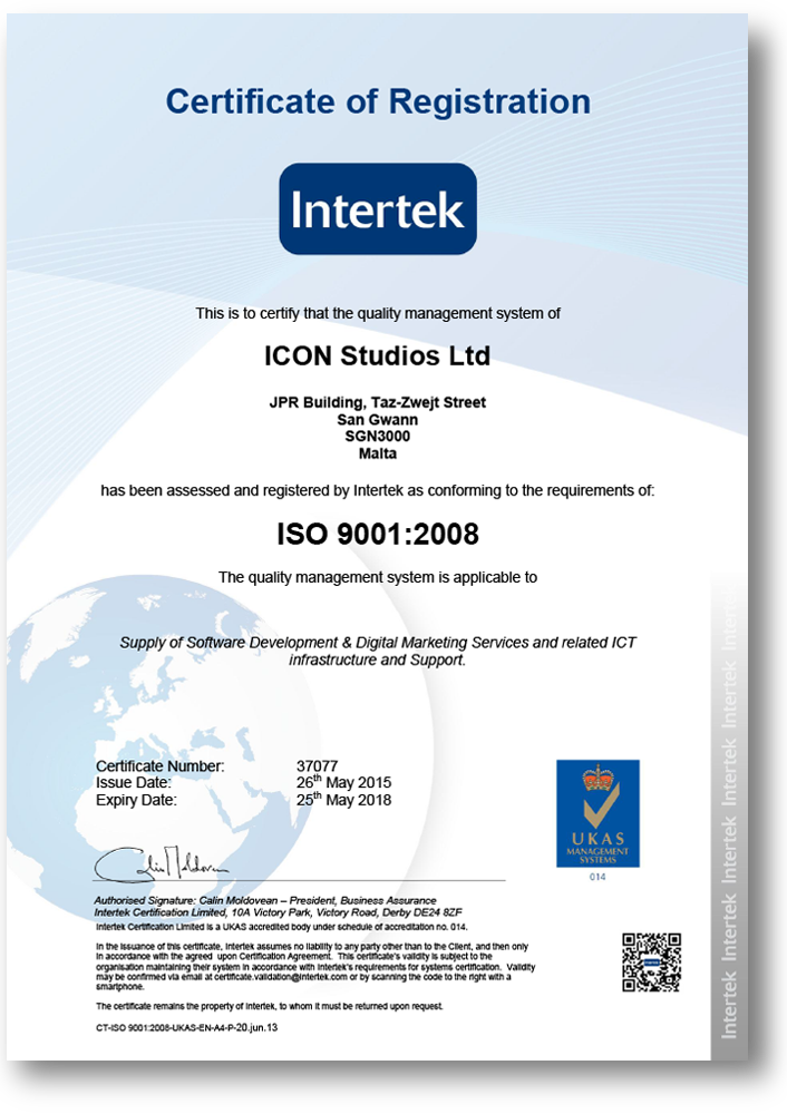 Icon Achieves Iso Certification